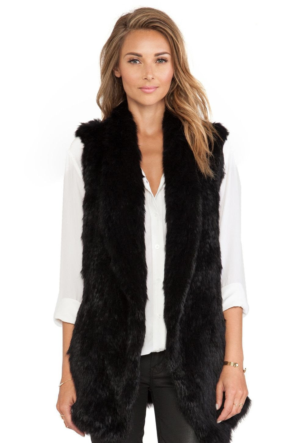 The Luxury Fur Company Knitted Rabbit Draped Vest in Black - Lookbook Boutique