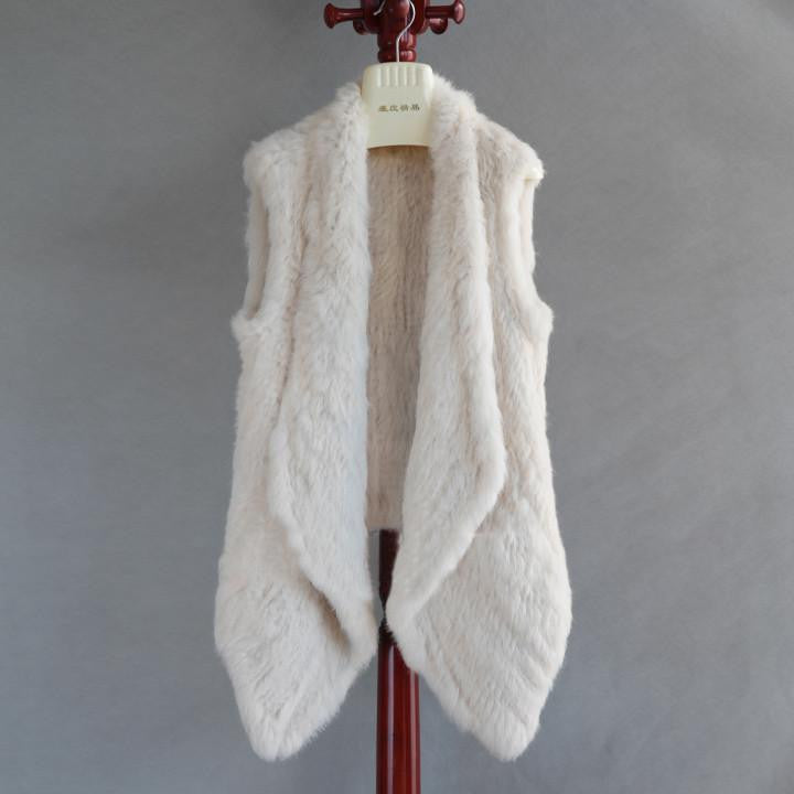 The Luxury Fur Company Knitted Rabbit Draped Vest in White-Lookbook Boutique