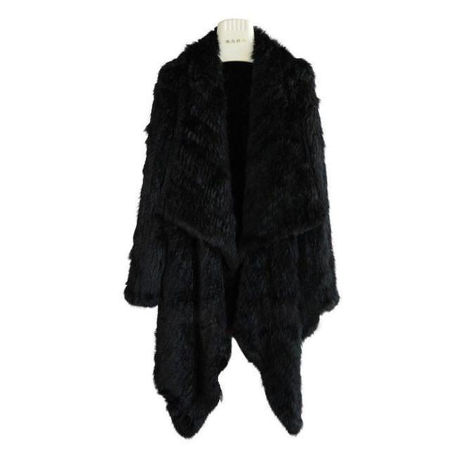 The Luxury Fur Company Knitted Rabbit LS Draped Coat in Black