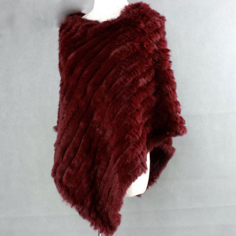 The Luxury Fur Company Knitted Rabbit Poncho/Wrap in Burgundy-Lookbook Boutique