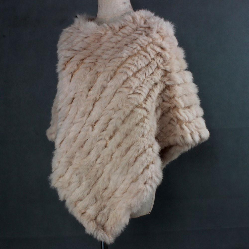 The Luxury Fur Company Knitted Rabbit Poncho/Wrap in Cream
