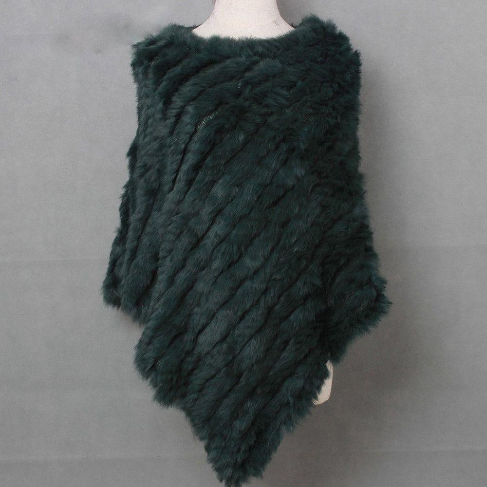 The Luxury Fur Company Knitted Rabbit Poncho/Wrap in Dark Green-Lookbook Boutique