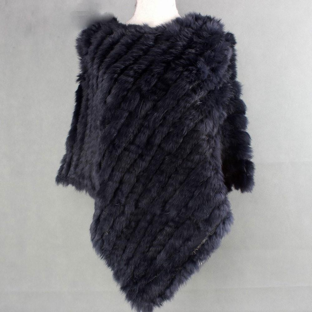 The Luxury Fur Company Knitted Rabbit Poncho/Wrap in Dark Navy - Lookbook Boutique