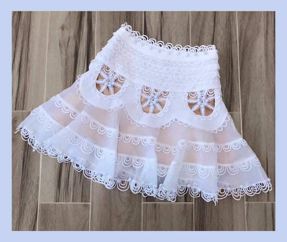 True Lover 3D Embroidery Lace Flip Mini Skirt in Ivory - Lookbook Boutique