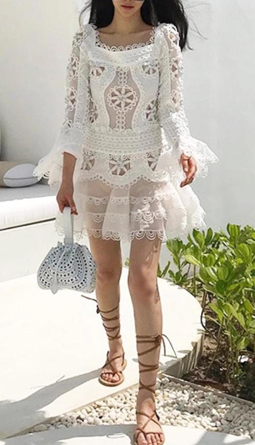 True Lover Dropped Waist 3D Embroidered Mini Dress in Ivory - Lookbook Boutique