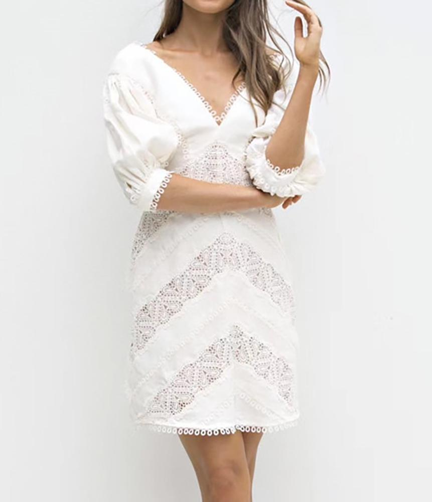 True Lover Lace Inlaid V Neck Puff Sleeve Fitted Mini Dress in Ivory - Lookbook Boutique