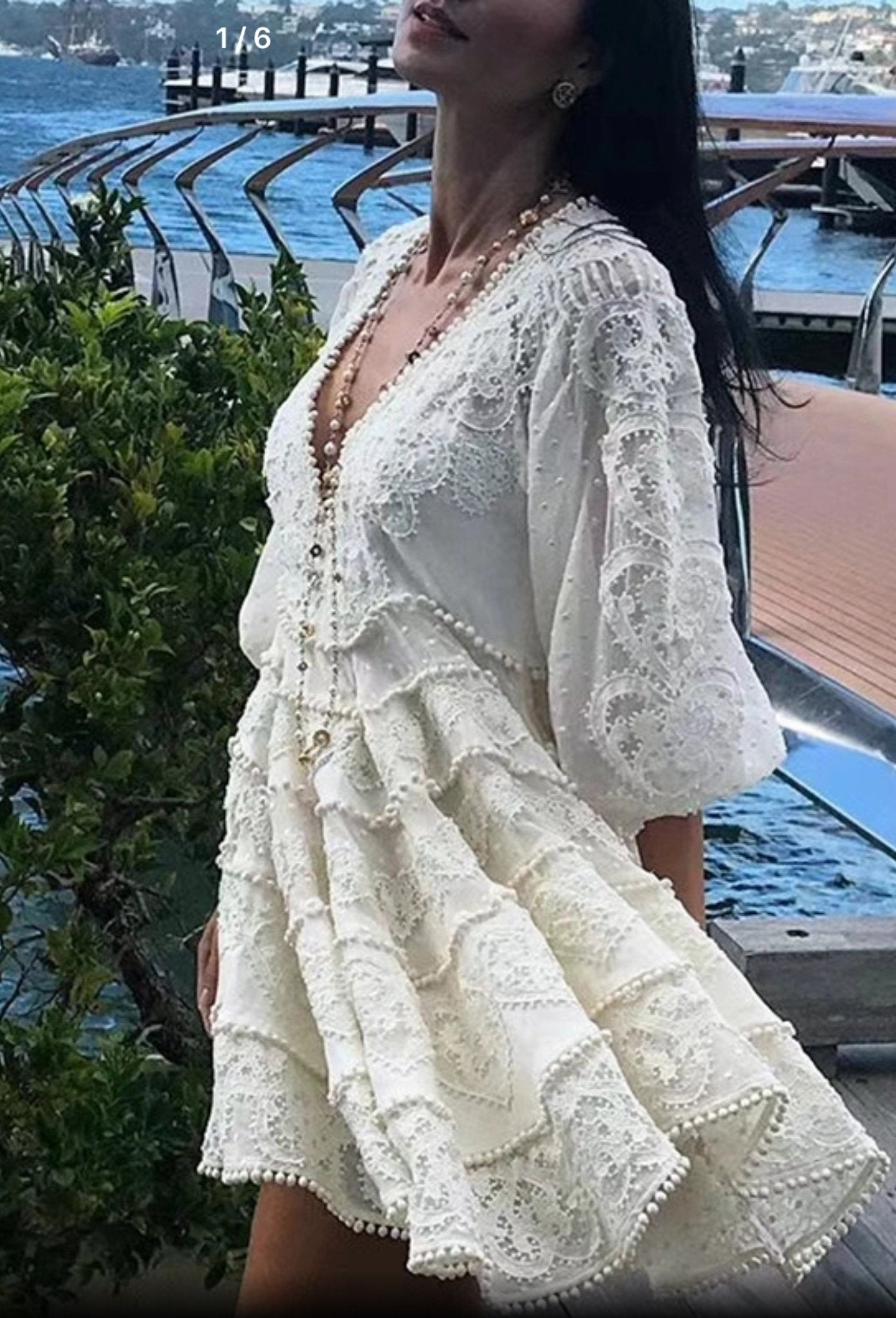True Lover V Neck Embroidered Lace Mini Skater Dress in Ivory - Lookbook Boutique
