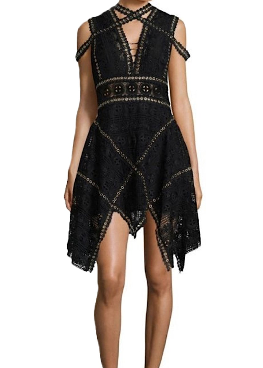 TTS Deep V Neck A Line Asymmetrical Lace Mini Dress in Black - Lookbook Boutique