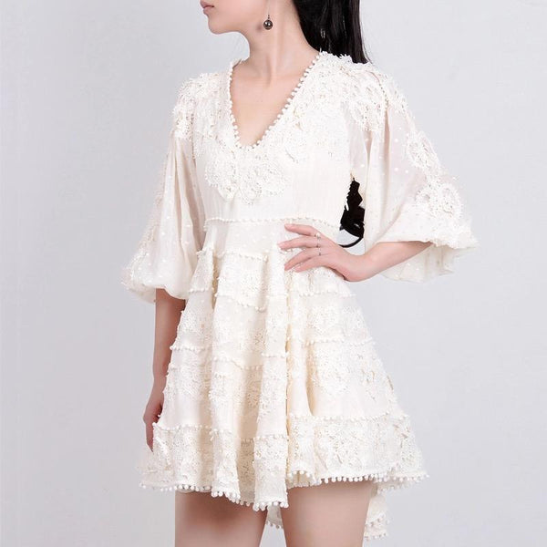 Twin Style Balloon Sleeve Layered Lace Mini Dress in Cream - Lookbook Boutique