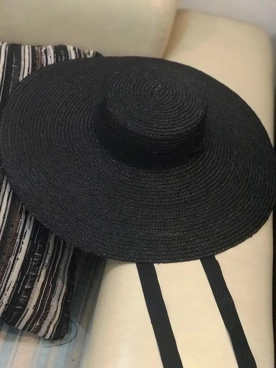 Very Wide 15cm Brim Straw Boater in Black - Lookbook Boutique