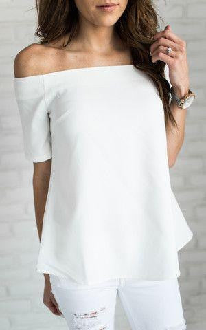 White Closet Classic Off Shoulder Top in White-Lookbook Boutique