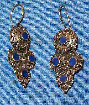Earrings Cross Lapis Malachite or Turquoise Afghan Kuchi Tribal Alpaca Silver 1 1/2""