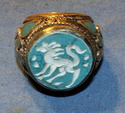 Ring Turquoise Animal Afghan Kuchi Tribal Alpaca Silver Size 8 to 10