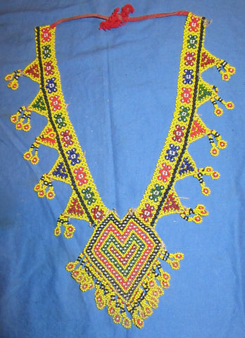 "Necklace Beaded Afghan Kuchi Tribal 12"" with ties"