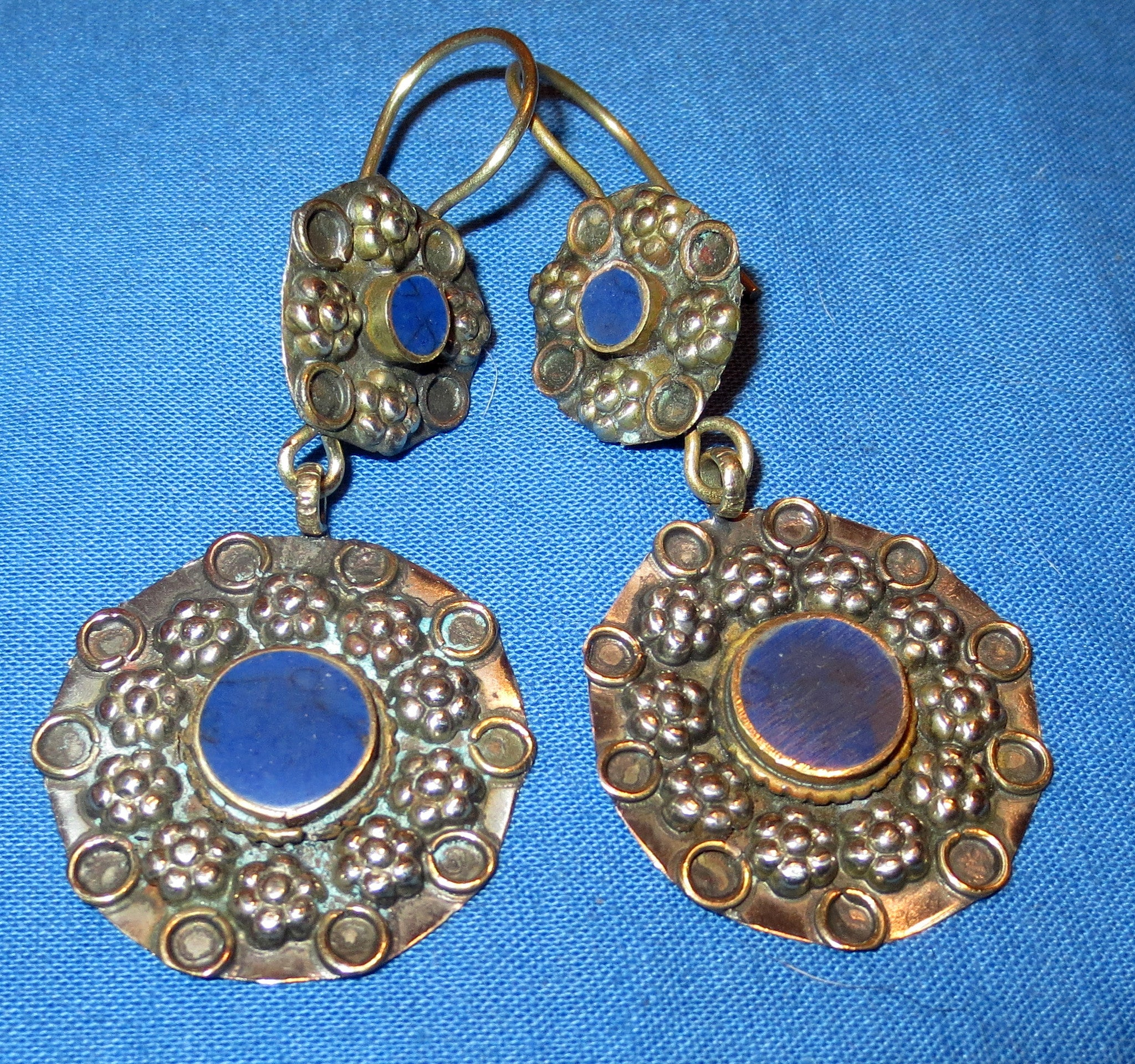 Earrings Circle Malachite Or Lapis Afghan Kuchi...