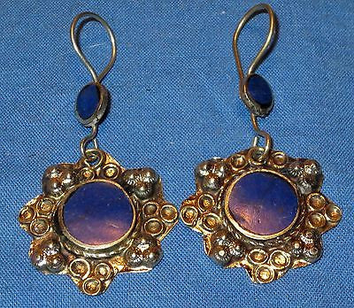 Earrings Circle Lapis Afghan Kuchi Tribal...