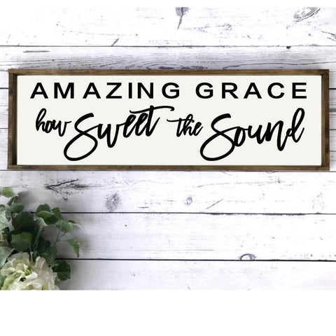 Amazing Grace Framed Farmhouse Sign Christian Gospel Wall Art