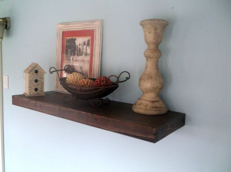 Walnut Stained Floating Shelf Storage Ideas Rustic Home Decor Interesting Thick Floating Wall Shelves