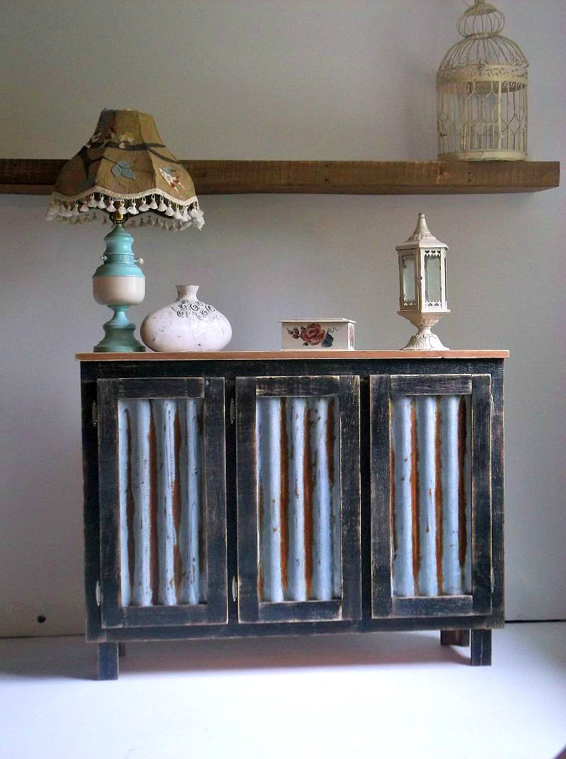 solid wood farmhouse coffee bar cabinet with reclaimed metal inserts
