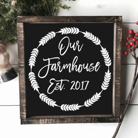 Personalized Framed Farmhouse Established Framed Wooden Sign