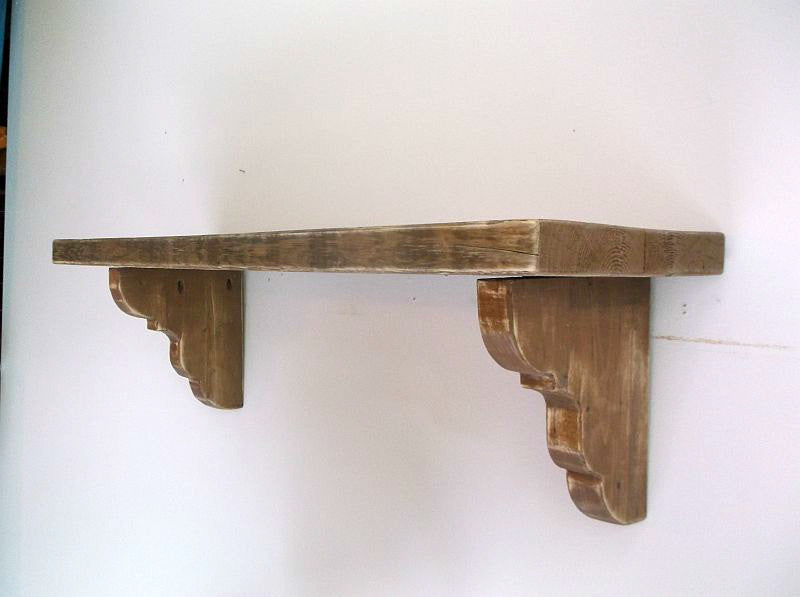 Chunky Distressed Provincial Style Shelf With Thick Unique Corbels