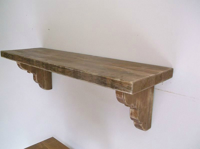 Chunky Distressed Provincial Style Shelf With Thick Unique Corbels Same As Never