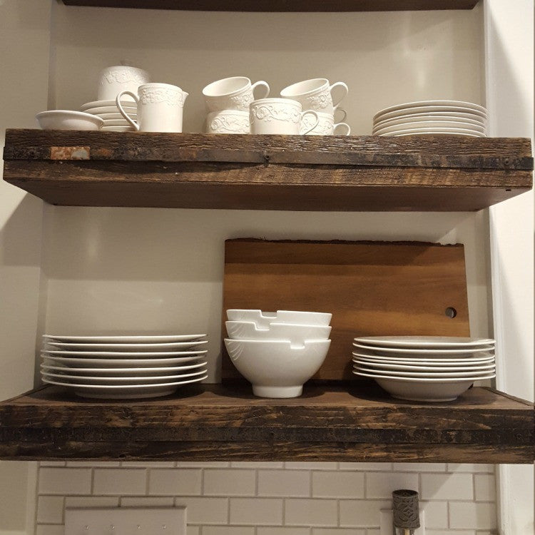 Walnut Stained Metal Banded Floating Shelves, Floating Shelves   Same As  Never