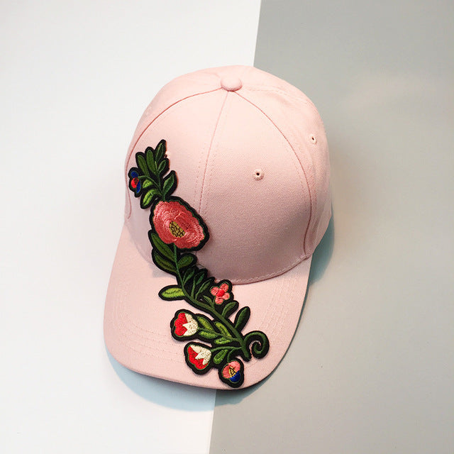 Flower Embroidered Cap