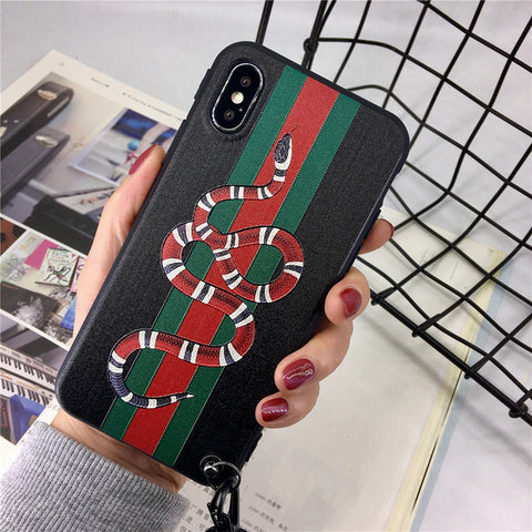 Gucci-inspired Snake / Cat Phone Cases with Lanyard