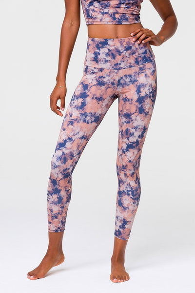 High Rise Midi Legging Earth Tie Dye