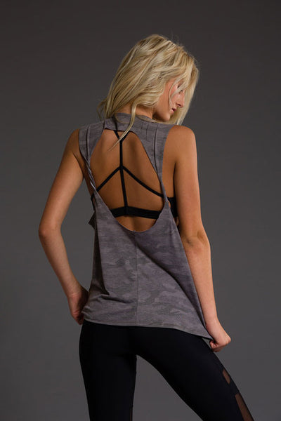 Twist Back Top - Moss Camo