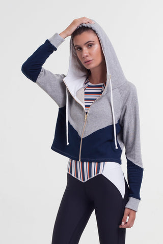 Blocked Crop Hoodie - Navy Grey