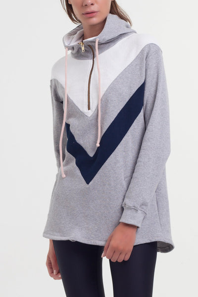 Swift Hoodie - Navy Grey White