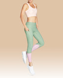Riley 7/8 Legging - Olive Herringbone with Blush