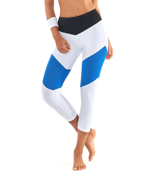 Race Ready 3/4 Legging - White / Blue