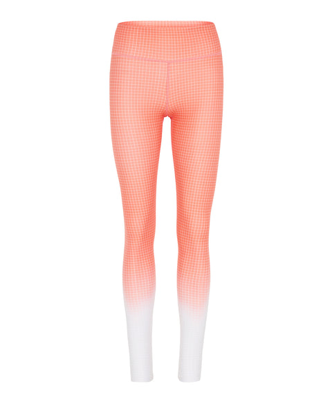 Rockell 7/8 Compression Tight - Coral Ombre Grid