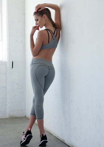 Heart Butt Yoga Capri - Light Grey