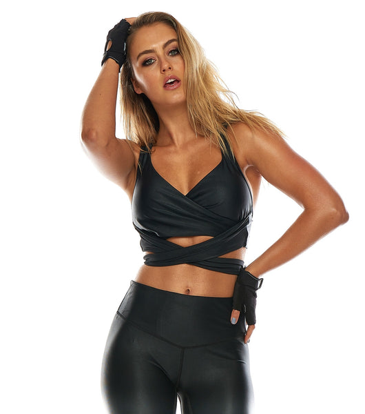 She Shimmers Wrap Crop - Black