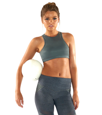 She Shimmers Halter Crop - Grey