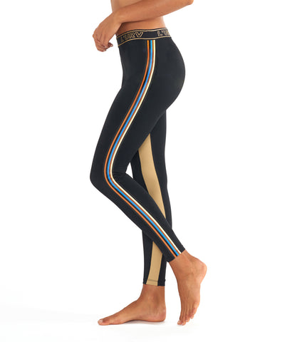 Disco City Stripe Legging - Black Shiny