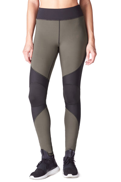 Moto Zip Legging - Olive with Black