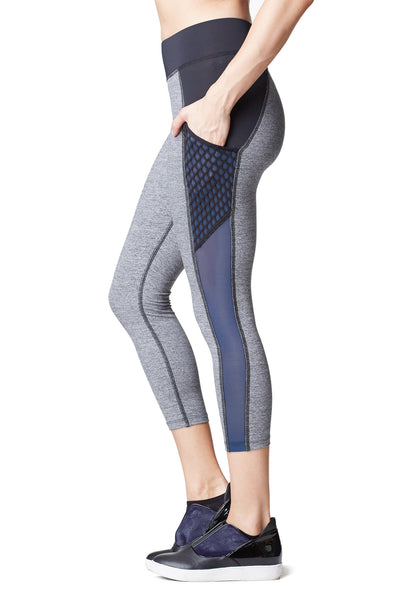 Stardust Crop Legging W/ Pocket - Heather Grey / Cobalt Blue