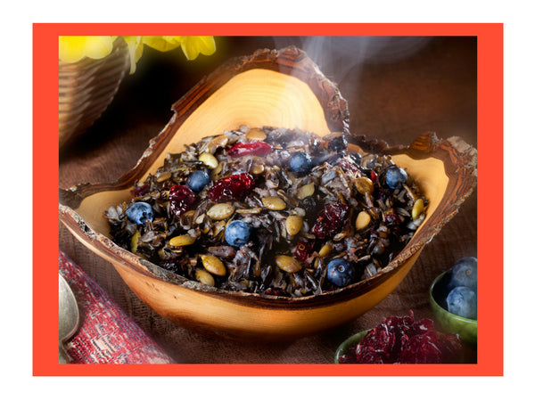 Pumpkin Wild Rice Cereal Order online native foods with indigenous ingredients for healthy breakfasts, camping food and hot breakfast cereal with high protein and high fiber and certified gluten free