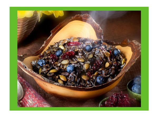 Sunflower Wild Rice Cereal Order online native foods with indigenous ingredients for healthy breakfasts, camping food and hot breakfast cereal with high protein and high fiber and certified gluten free