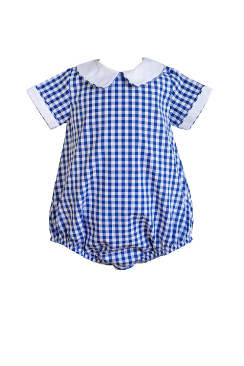Royal Blue Gingham Boy Bubble