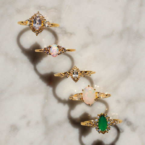 semi fine jewelry natural gemstones rings from La Kaiser