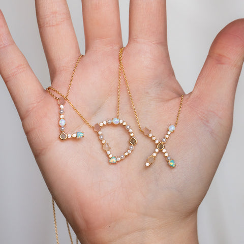 monogram letter necklace jewelry gift opal moonstone