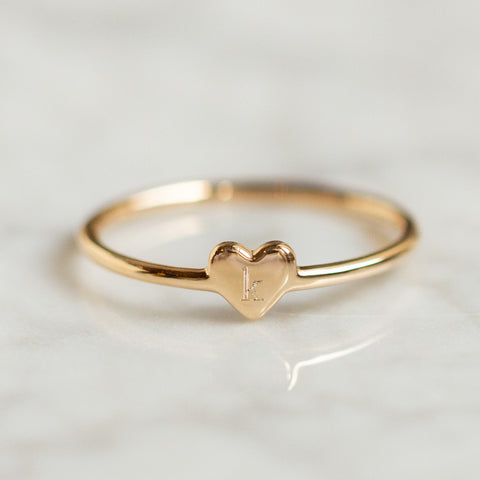 engraved yellow gold heart ring
