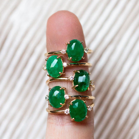 emerald and diamond yellow gold rings