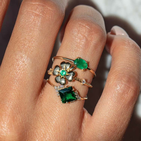 solid gold fine jewelry emerald rings